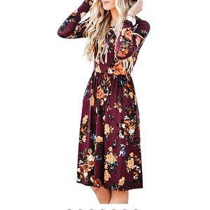 Dresses & Skirts - Fall floral midi dress. Xl